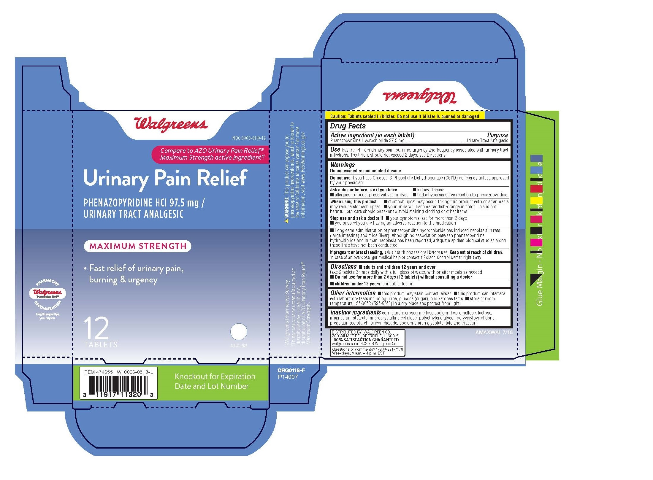 Walgreens Urinary Pain Relief Maximum Strength: Details from the FDA